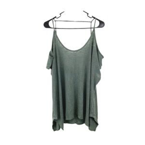 Forever 21 Plus Size Green Cold Shoulder Top